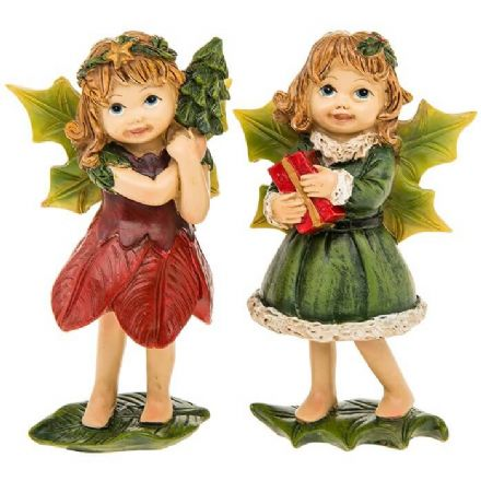 Medium Standing Set of 2 Holly Fairies